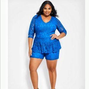 Ashley Stewart size 16 blue lace play suit